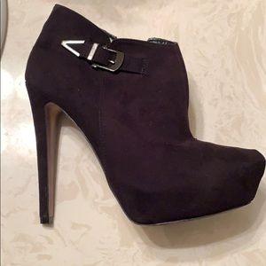 ALDO black suede platform ankle heel boots